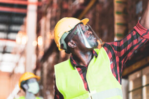 construction worker wearing face shield