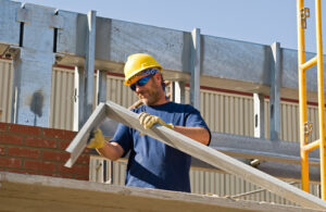 construction worker with protective eyeglasses